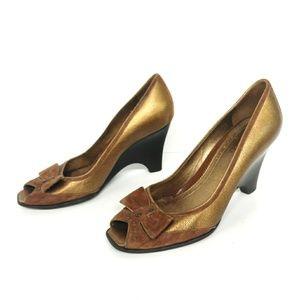 Franco Sarto Square Peep Toe Bronze Heel Size 7.5